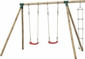 Dubbele houten schommel met touwladder - SwingKing Charlotte compleet