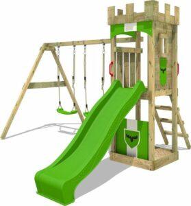 FATMOOSE Speeltoestel voor tuin TreasureTower met schommel en appelgroene glijbaan, Houten speeltuig, Speeltoren voor buiten met zandbak en klimladder voor kinderen