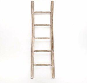 Houten decoratie ladder - White oiled - 50x5x175