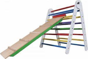 Klimset Baby 80 cm - Pikler Triangle - kleurrijk, klimrek voor peuters met glijbaan, klimtoestel houten