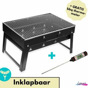 Lynnz® Draagbare tafel BBQ inclusief thermometer - voor op balkon of camping - houtskool barbecue - tafelbarbecue - barbeque - mini bbq - grill