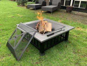 RJRQuality Vuurschaal 80 cm BBQ terrashaard barbecue vuurkorf tuinhaard met vonkenscherm en hoes