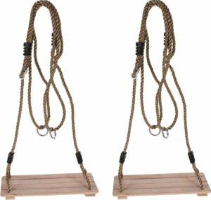 Set van 2x stuks houten schommels - kinderschommels 40 x 16 cm - Speelgoedschommels met touwen voor in de tuin