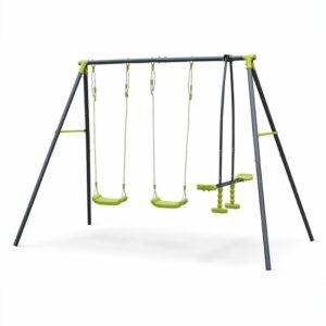 Swing set met 4 plaatsen, 2 singel schommels en 1 face-to-face schomme
