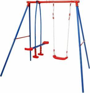 Tuinschommel voor de kinderen--blauw en rood--3-zits
