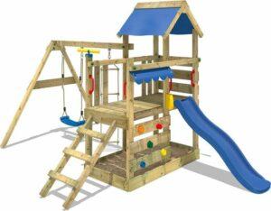 WICKEY Speeltoestel voor tuin TurboFlyer met schommel en blauwe glijbaan, Houten speeltuig, Speeltoren voor buiten met zandbak en klimladder