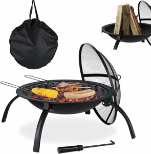 relaxdays Vuurschaal - bbq - staal - rond - barbecue - buiten - tuin - terrasverwarmer Met draagtas